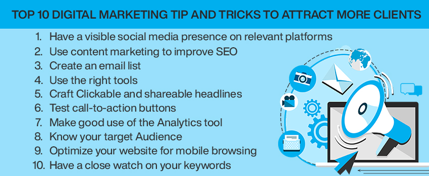 Top 10 digital marketing tip and tricks to attract more clients